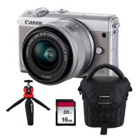 Canon EOS M100+EF-M 15-45mm f/3.5-6.3 IS STM, sivý   CASHBACK 30 €